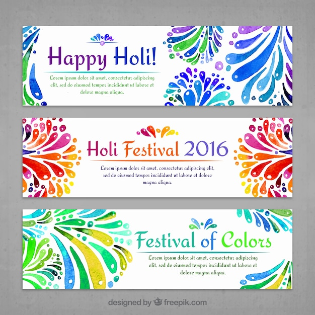 Watercolor Decorative Holi Banners Vector Free Download