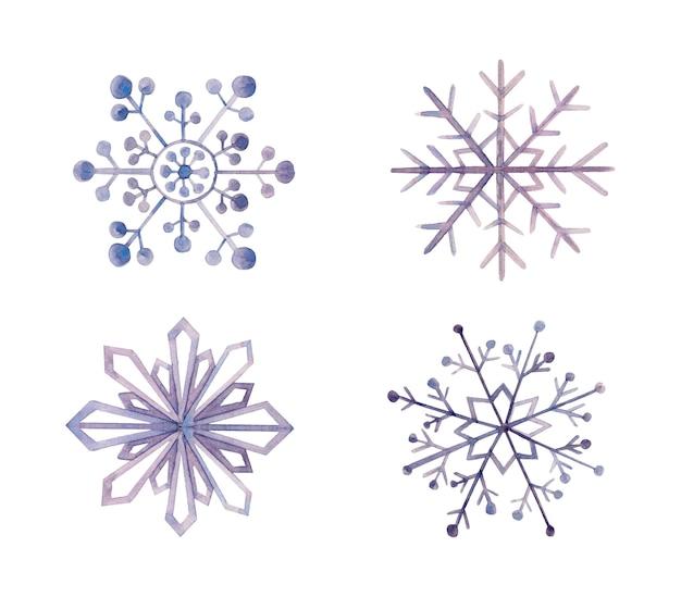 白で隔離の水彩装飾雪の結晶 Premiumベクター