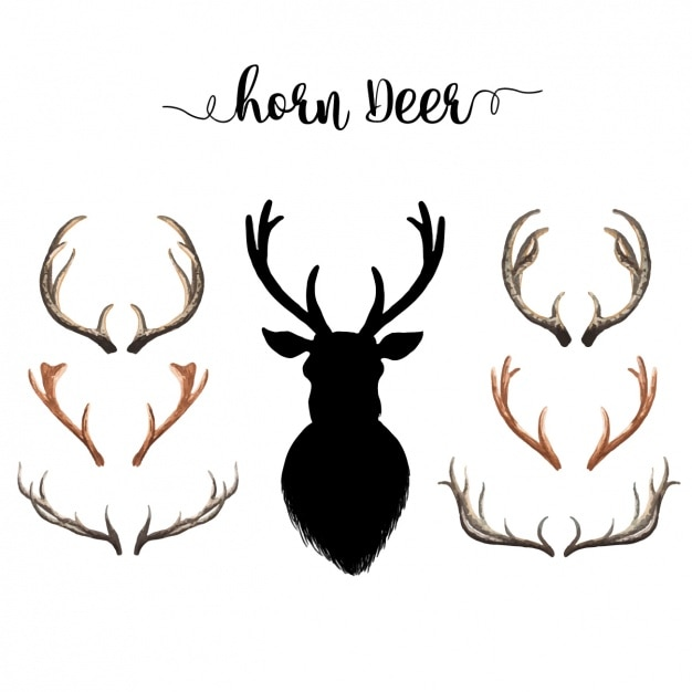Watercolor deer horns collection Free Vector