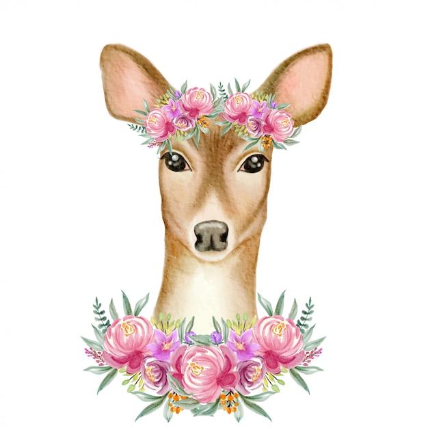 Акварельный олень с цветком короны Premium векторы