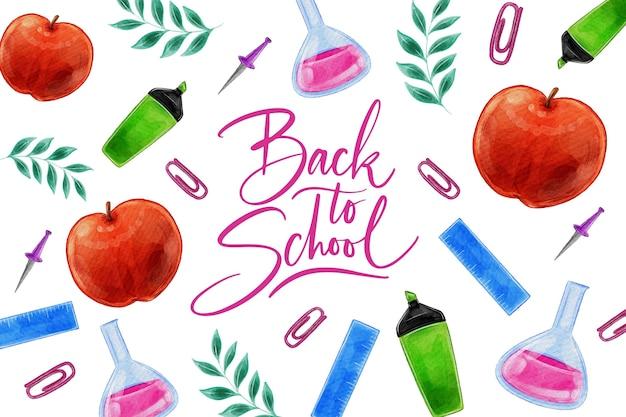 学校の背景に戻る水彩デザイン 無料ベクター