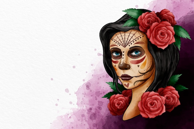 Watercolor design day of the dead event Free Vector