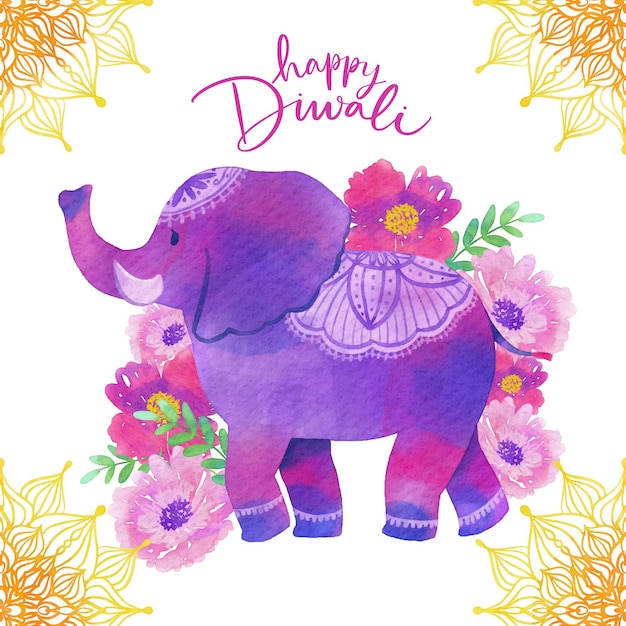 Watercolor design diwali with elephant Free Vector
