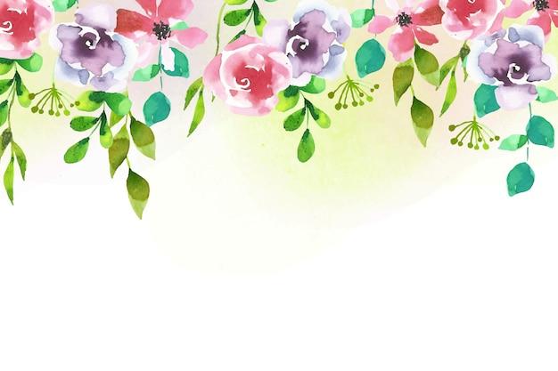 水彩デザイン花の背景 無料ベクター