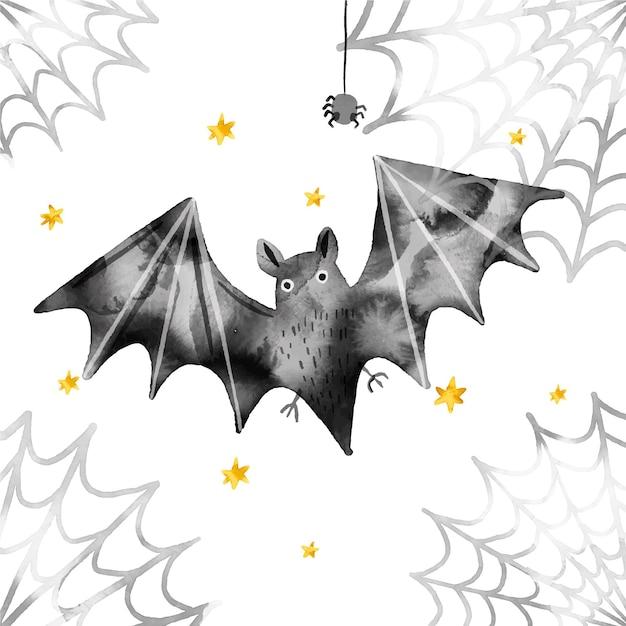 수채화 디자인 할로윈 박쥐 프리미엄 벡터