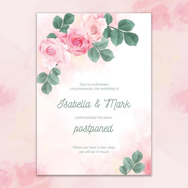 수채화 디자인 연기 웨딩 카드 프리미엄 벡터