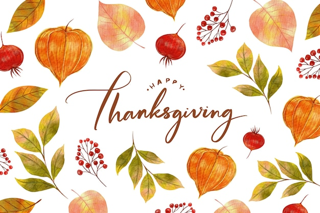 Watercolor design thanksgiving background Free Vector