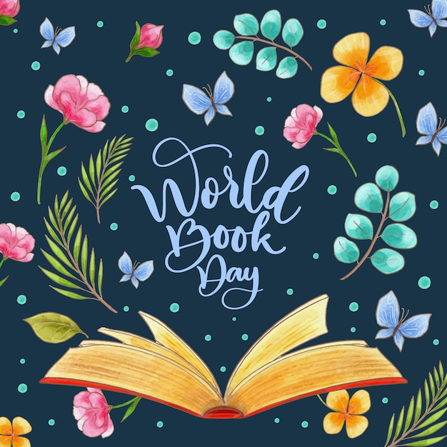 Watercolor design world book day Free Vector