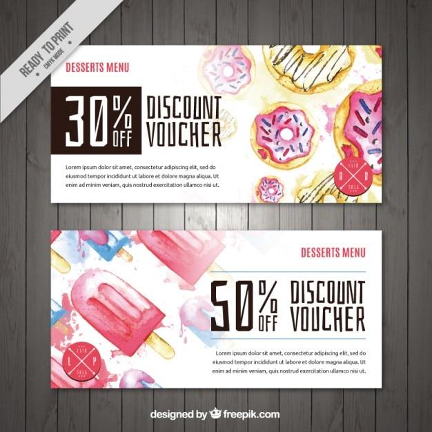 Watercolor dessert, discount voucher