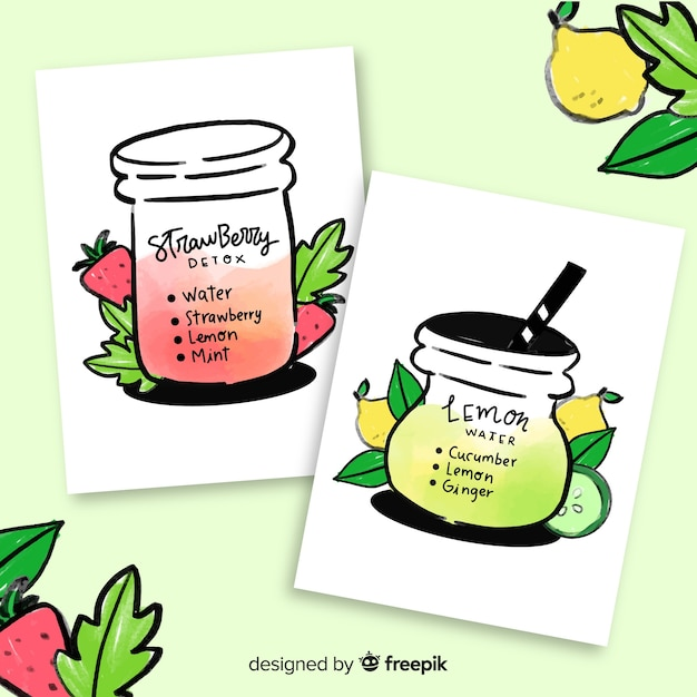 Watercolor detox fruit juice cards Free Vector
