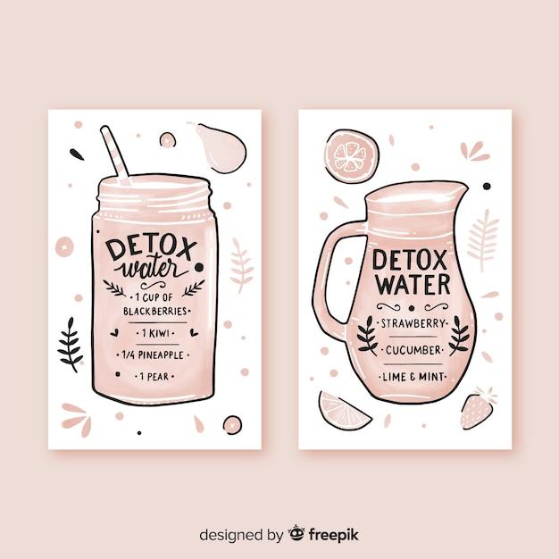 Watercolor detox fruit juice cards Free Vector