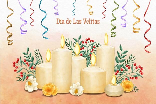 Evento dell'acquerello día de las velitas Vettore gratuito