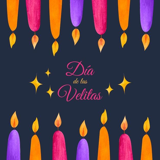 キャンドルと水彩のdíadelasvelitas 無料ベクター