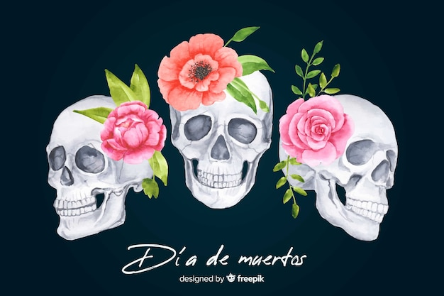 Watercolor dia de muertos background Free Vector
