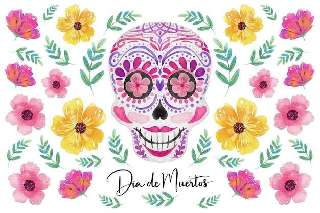 Watercolor dia de muertos background Free Vector