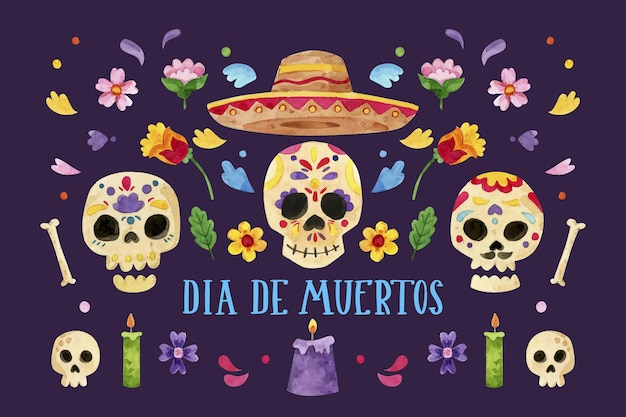 Watercolor dia de muertos background Premium Vector