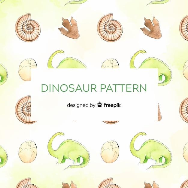 Watercolor dinosaur pattern Free Vector