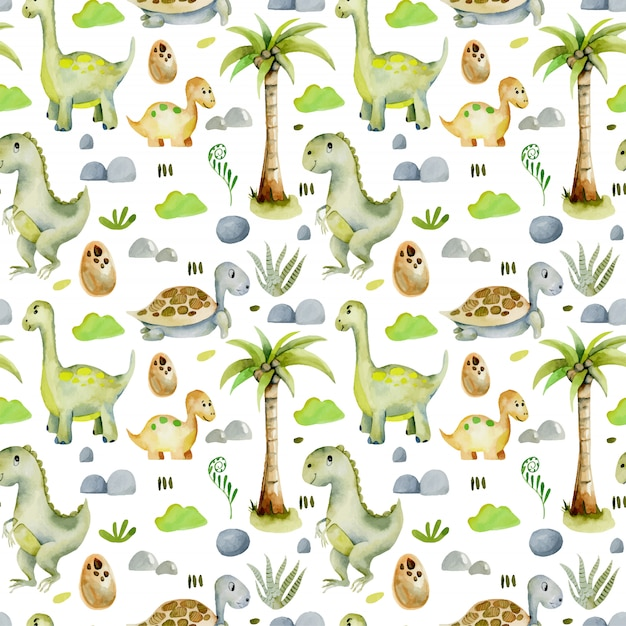 Watercolor dinosaurs and turtles seamless pattern Premium Vector