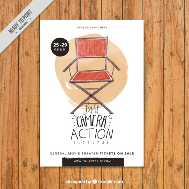 Watercolor director chair poster Free Vector