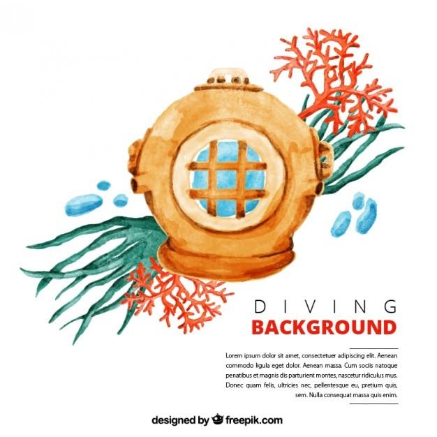 Watercolor diver with seaweeds background Premium Vector