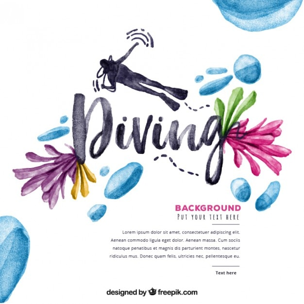 Watercolor diving background with flowers and droplets Free Vector
