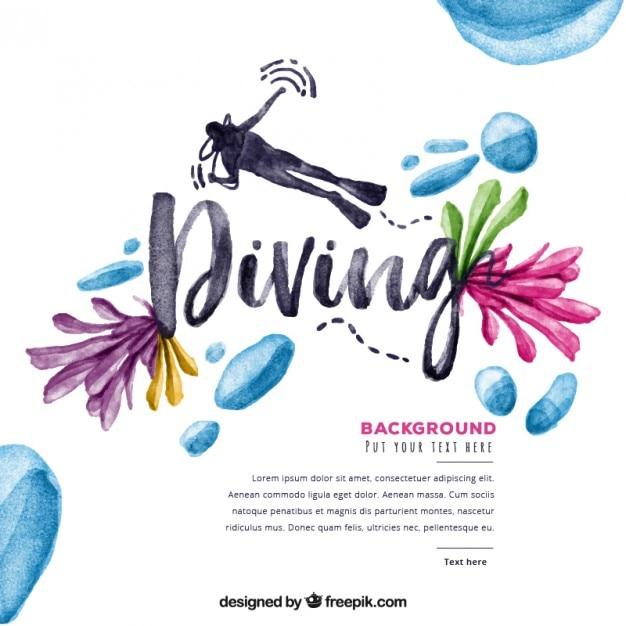 Sfondo immersioni acquerello con i fiori e le goccioline Vettore gratuito