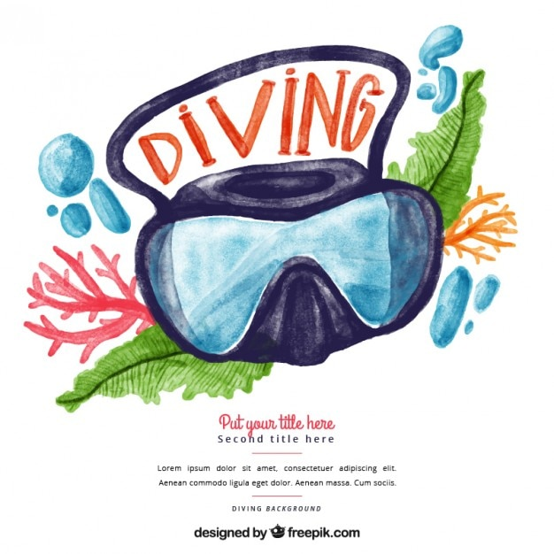 Watercolor diving goggles background Free Vector