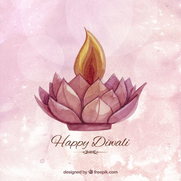 Watercolor Diwali background with a candle Vector | Free ...
