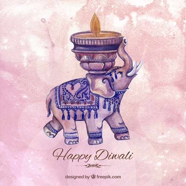 Watercolor diwali background with an elephant Free Vector