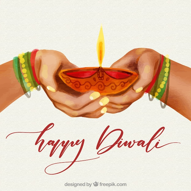 Watercolor diwali background with hands design Free Vector