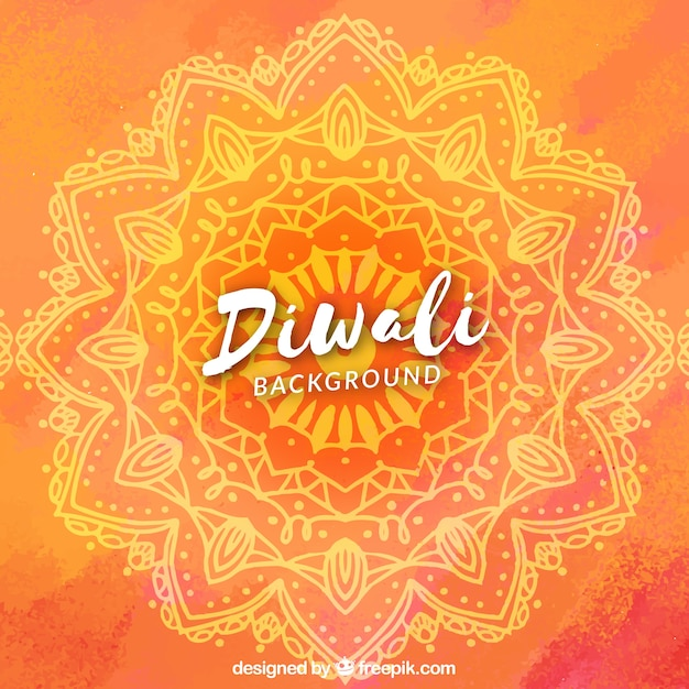 Watercolor diwali background with mandala