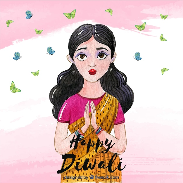 Watercolor diwali background with woman design