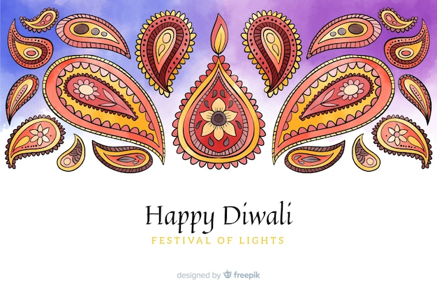 Watercolor diwali background Free Vector