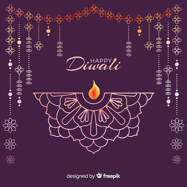 Watercolor diwali background Free Vector