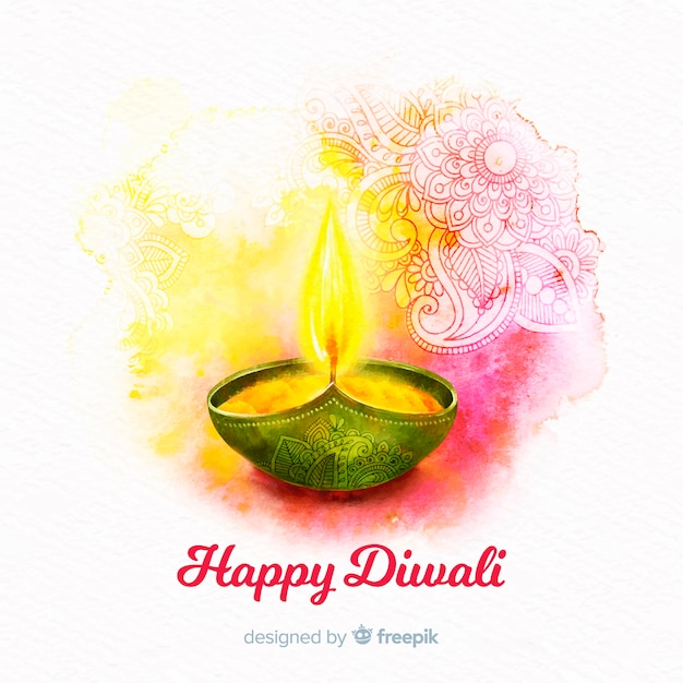 Watercolor Diwali Background Vector Free Download