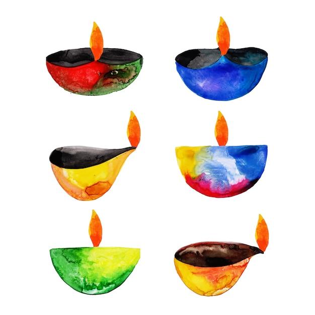 Watercolor diwali elements collection Premium Vector