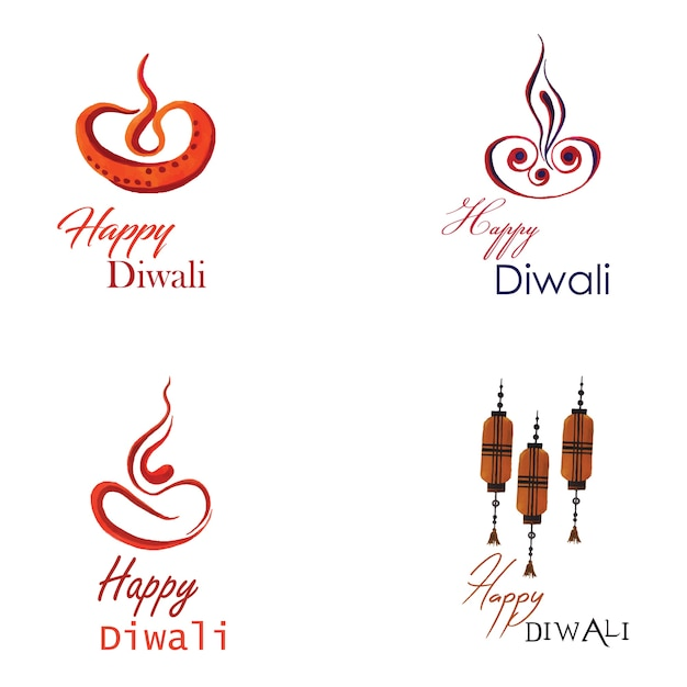 Watercolor Diwali Logo Collection