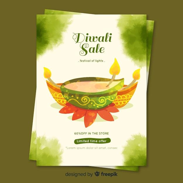 Watercolor diwali sale flyer template Free Vector