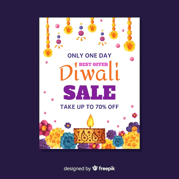 Watercolor diwali sale flyer with discount Free Vector