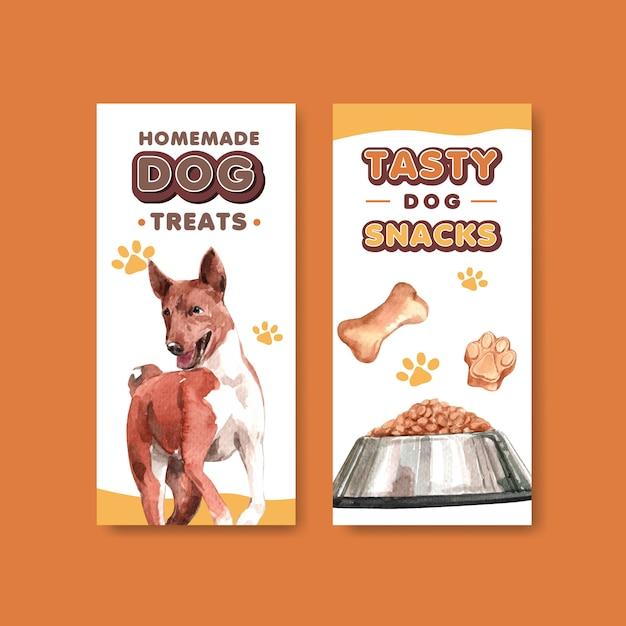 Набор шаблонов рекламных буклетов акварель собака Бесплатные векторы