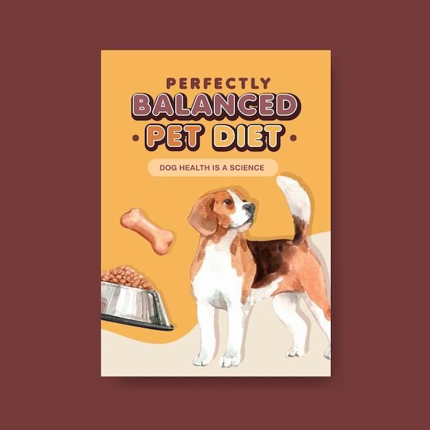 Modello del manifesto della pubblicità del cane dell'acquerello Vettore gratuito