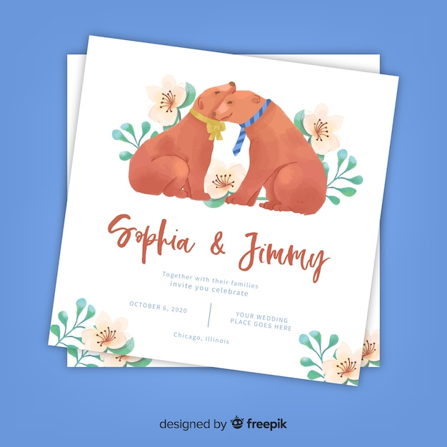 Watercolor dogs wedding invitation template Free Vector