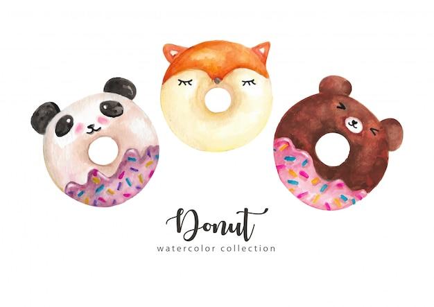 Акварельные пончики Premium векторы