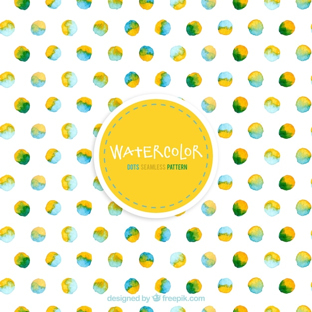 Watercolor dots pattern Free Vector