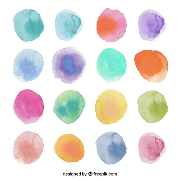 Watercolor dots Free Vector