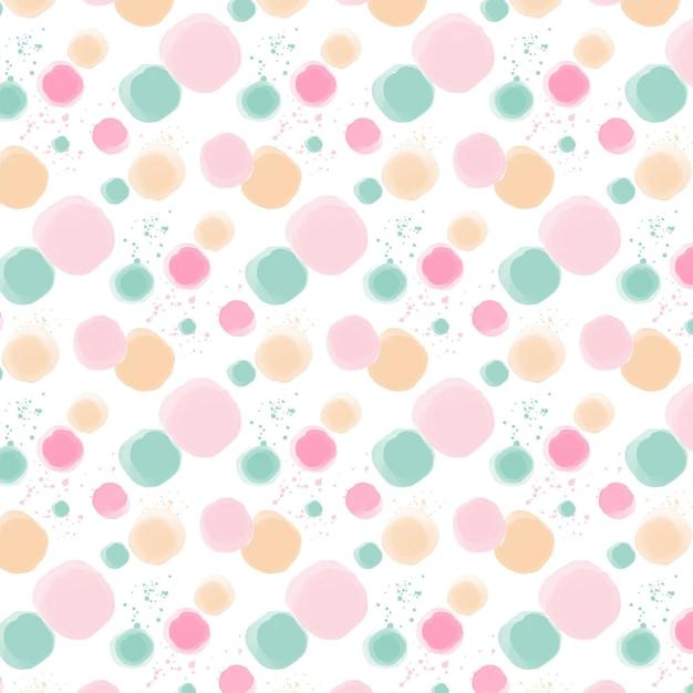 파스텔 색상의 수채화 도트 패턴 무료 벡터