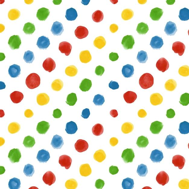 色とりどりの水彩ドッティパターン 無料ベクター