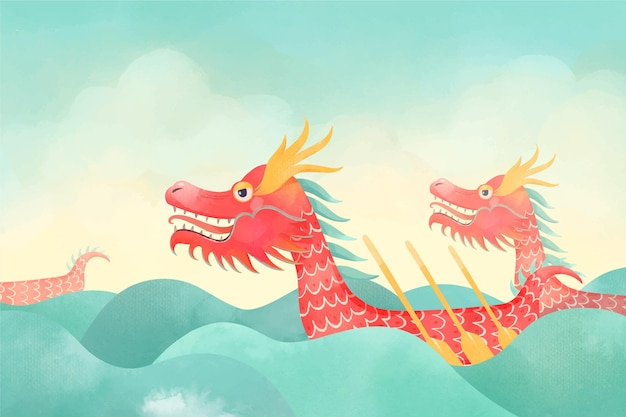 Watercolor dragon boat background Free Vector