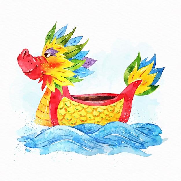 Sfondo di barca drago dell'acquerello Vettore gratuito