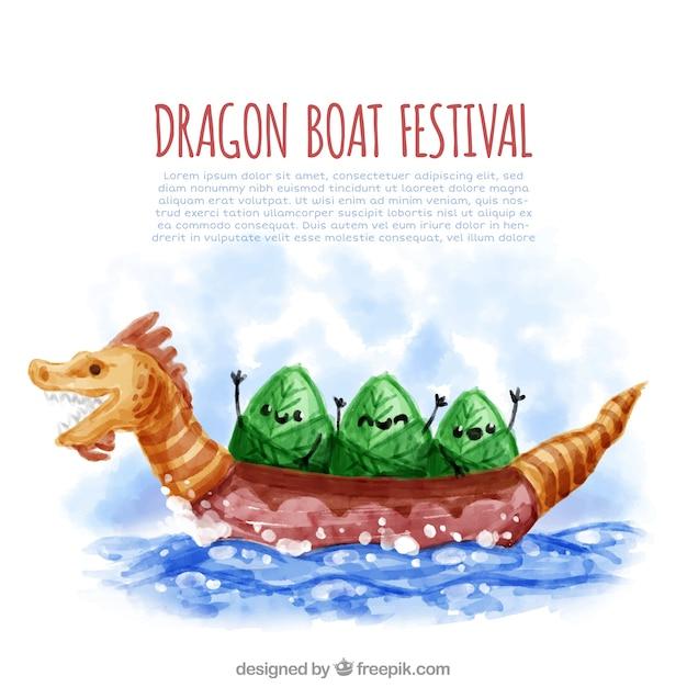 Watercolor dragon boat festival\ background